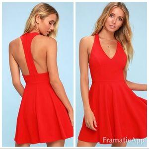 💫🆕lulu's red Lawson skater mini dress